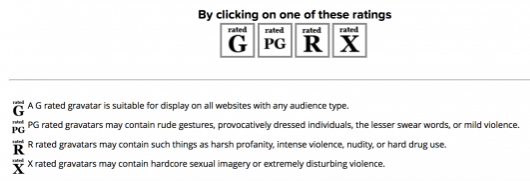 Choose a rating for your Gravtar profile picture