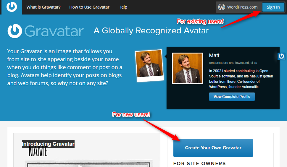 Click on Create Your Own Gravatar Image Account