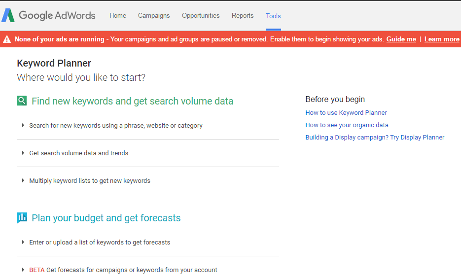 Features of Google Keyword Planner