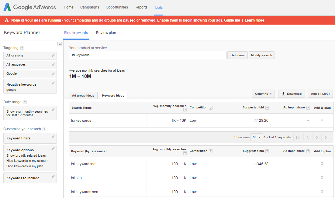 How to use Google Keyword Planner to find semantic Keywords