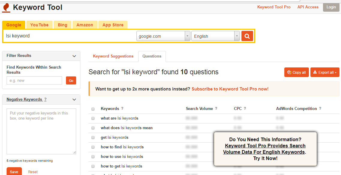 How to use KeywordTool.io to find relevant LSI keywords