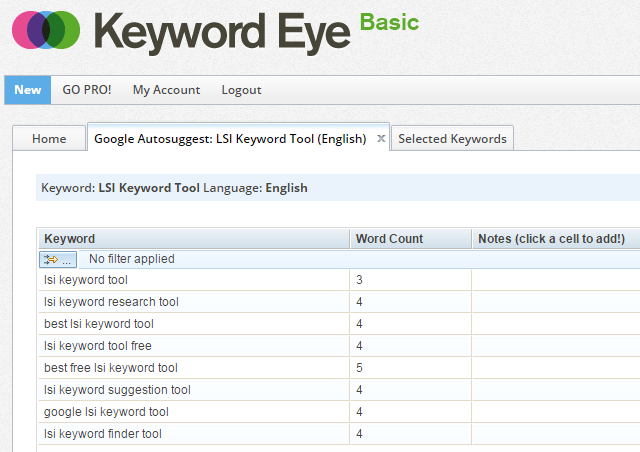 Keyword Eye Google AutoSuggest Words