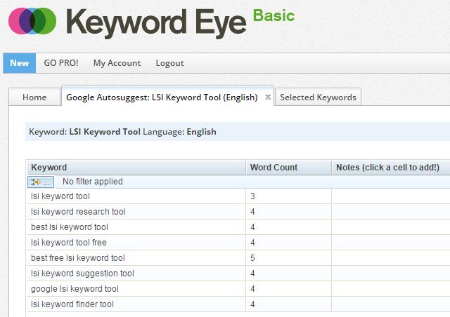 Keyword Eye Google AutoSuggest Words