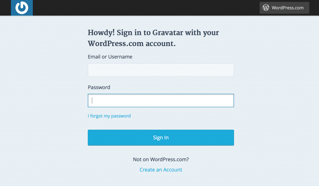 Sign in to your Gravtar account