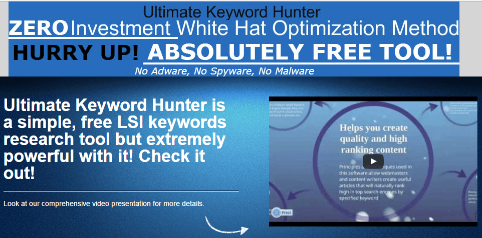 Ultimate Keyword Hunter Free LSI Keyword Tool