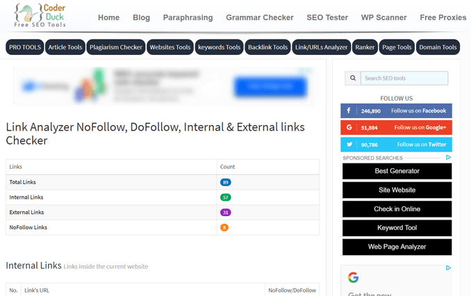 Link Analyzer-Nofollow and DoFollow Links Checker Tool-coderduck-free-seo-tool