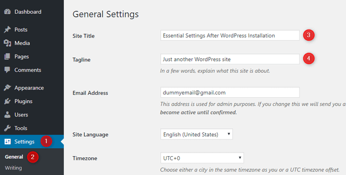 change-wordpress-default-site-title-and-tagline-general-settings