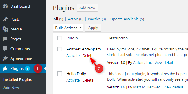 delete-default-wordpress-plugin-hello-dolly