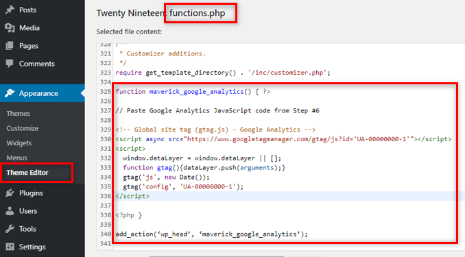add-google-analytics-code-via-functions-php-file